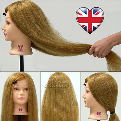100% Real Hair Hairdressing Cosmetology Training Head Salon Mannequin With Clamp