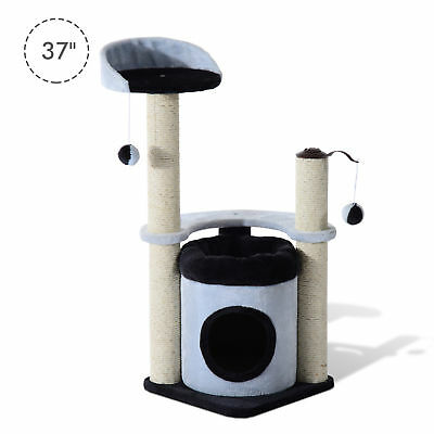 "PawHut 37"" Cat Tree House Furniture Condo Post Pet Play Tower Kitten Scratching"