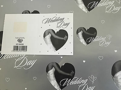 Wedding Day Silver Bride/groom Hearts Gift Wrapping Paper 2 Sheets+1 Gift Tag