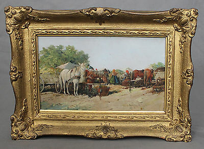 19th Century Russian School Oil Painting Preparing for Market Signed