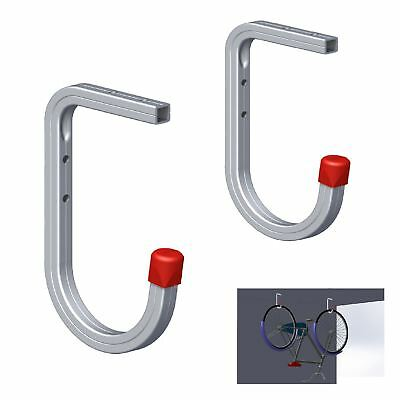 2 x Wall & Ceiling Mounted 50kg Bike Storage Hooks, Bracket Ladders Tools Garage