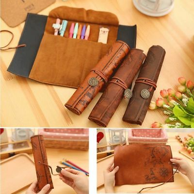 Retro Vintage Treasure Map Luxury Roll Leather Make Up PU Cosmetic Pencil Case