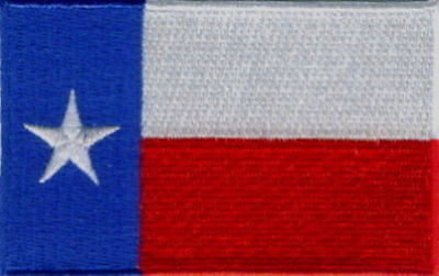 "Embroidered 3.5"" X  2.25"" Texas State Flag Patch, Iron On"