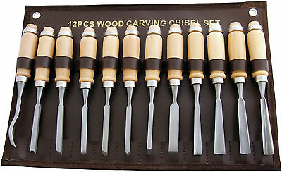 Am-Tech 12 Pieces Professional Wood Carving Chisel Set New