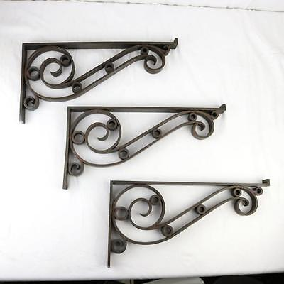 3 Antique Bronze Brackets Hand Crafted Kitchen Shelf Glass Architectural Salvage