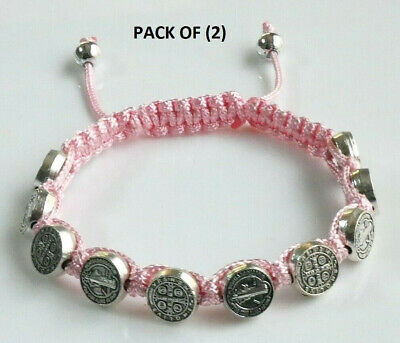St.Benedict Pink Corded Rosary Bracelet with (10) Silver Tone Medallion Beads
