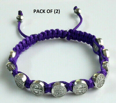 St.Benedict Purple Corded Rosary Bracelet with (10) Silver Tone Medallion Beads