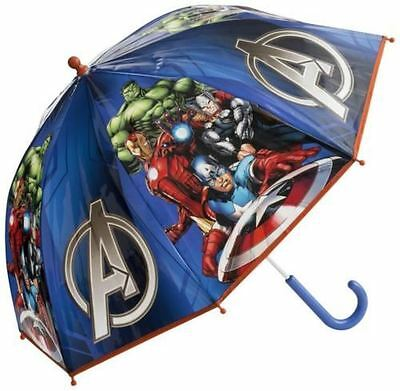 Official Marvel Avengers Blue Dome Bubble Umbrella Kids Boys School Brolly Rain