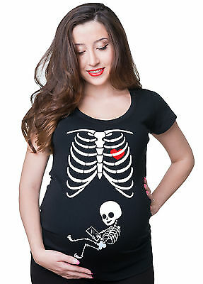 X-ray Skeleton Halloween baby with Tablet Pregnancy maternity T-shirt Costume