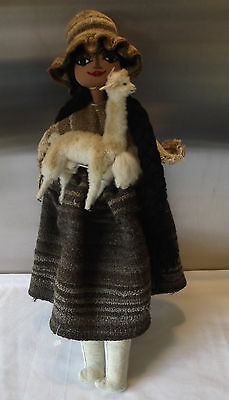 Genuine Peru Material Cloth Doll with wool Lama and Baby