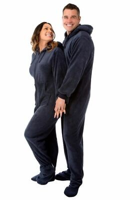 Navy Blue Hooded Plush Adult Mens Footed Pajamas Onesie w/ Drop Seat