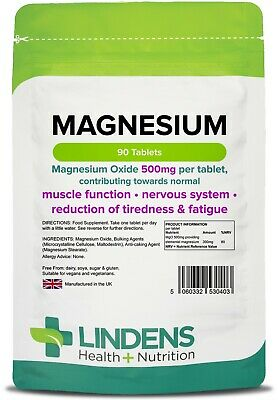 Magnesium Tablets MgO 500mg  90  Help to Reduce Tiredness & Fatigue (LINDENS) UK