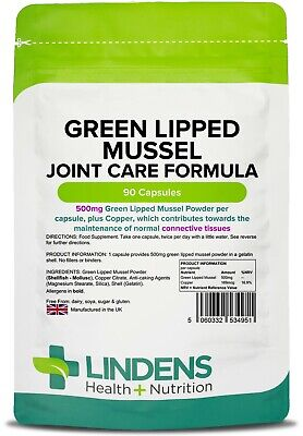 Green Lipped Mussel 500mg 90 Capsules Joint Health Humans & Dogs (LINDENS)