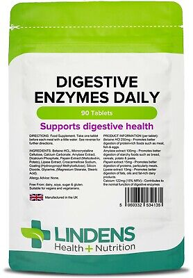 Digestive Enzymes Daily 90 tablets with Betaine HCl Digestion UK MADE Lindens