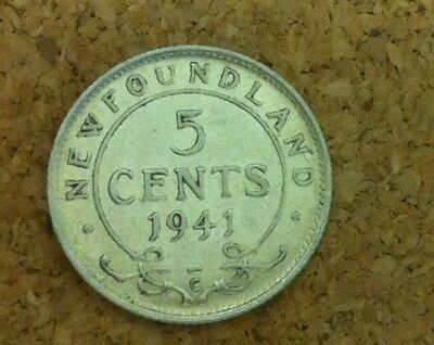 1941 Newfoundland Canada  *uncirculated* 5¢ Cent Silver Coin  Item # 15-888