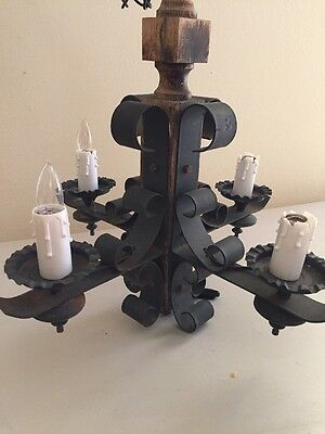 VTG Gothic Tudor Wrought Iron Wood MEDIEVAL Hanging Chandelier Ceiling Light