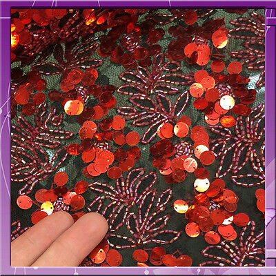 34 in w Hand beaded French lace w red sequins n bugle beads Fabrics by the yard