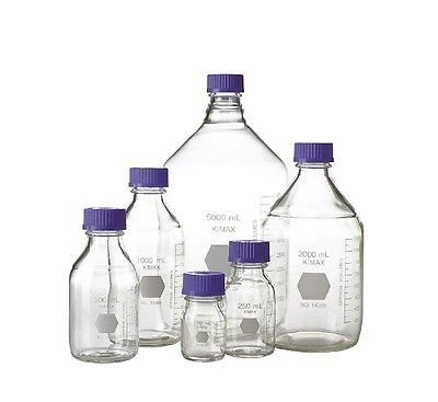 KIMAX 14395-2000 Borosilicate Glass GL-45 Media/Storage Bottle (Case of 4)