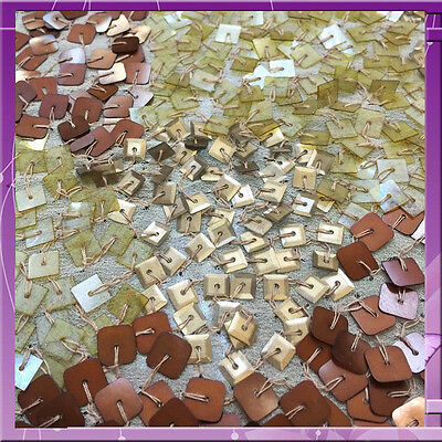 Hand Made Fabric Square Sequins 38 Inches Wide Sold By The Yard Gold / Brown