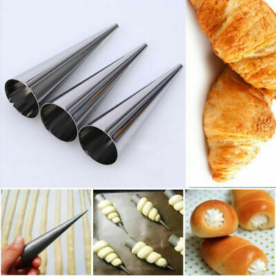 3Pcs Non-Stick Dessert Cake Cannoli Cone Round Form Tubes Bread Baking Mold Tool