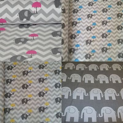 "GREY CHEVRON *STARS*ELEPHANTS*100% Cotton Fabric Material By The Metre 63"" Wide"