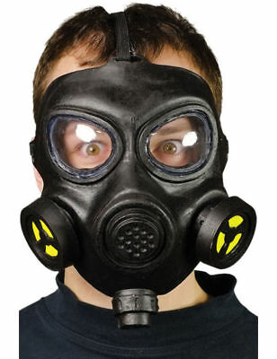 Adult World War Black Gas Mask Halloween Fancy Dress Costume Outfit Accessory