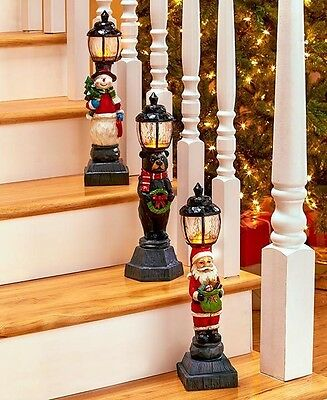 3 Pc Lighted Holiday Lamppost Santa, Bear, & Snowman Christmas Winter Home Decor