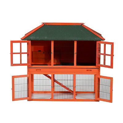 "PawHut 49"" Rabbit Hutch Chicken Coop Wooden Backyard Pet Cage House Habitat Run"