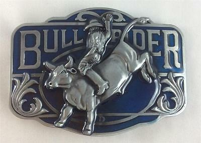 Belt Buckle - Metal - Cowboy/cowgirl/rodeo/bull Rider - Silver/blue Tone - New