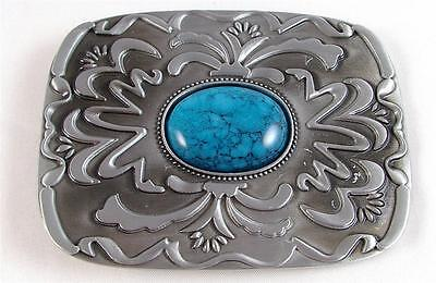 Belt Buckle-Metal-Cowboy/country Western Aztec Design-Turquoise Stone-Rectangle
