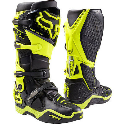 Fox Racing 2017 Mx NEW Instinct Black FLO Yellow Motocross Boots