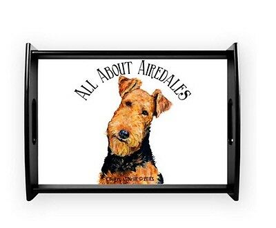 Airedale Terrier Wooden Coffee Tray Server Home Accent Collectible