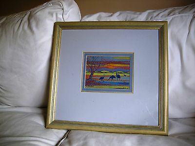 Emus Grazing Australian GAYLE RUSSELL Framed Original Painting Mixed Media