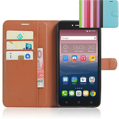 """Leather Slot Cover Case Wallet for 6"""" Alcatel One Touch Pixi 4(6.0) 3G Phone"""