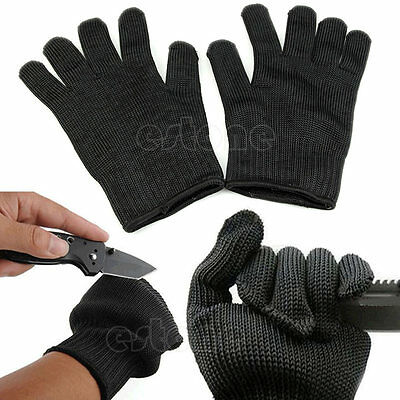 Black Stainless Steel Wire Knife-resistant Anti-Slash Work Gloves Cut Safety New