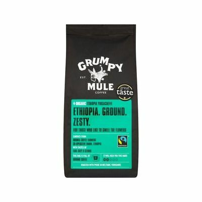 Grumpy Mule Organic Ethiopia Yirgacheffe Ground Coffee Fairtrade 227g