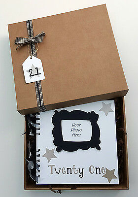 "21st Birthday Guest Book, 8"" x 8"" boxed Scrapbook, Birthday Party Photo Album"