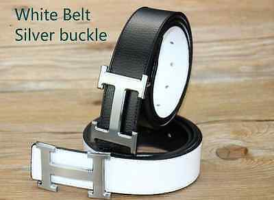 White Belt Silver buckle H buckle Smooth buckle Leather belt