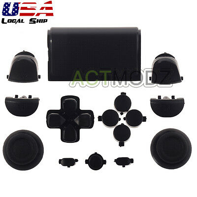 Solid Black Full Set Buttons Thumbsticks Repair for Dualshock 4 PS4 Controller
