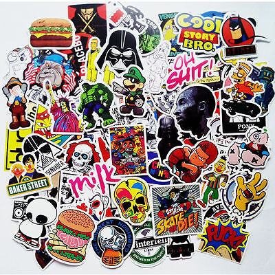 50 pcs Skateboard Stickers Graffiti Laptop Sticker Luggage Car Decals Mix Lot