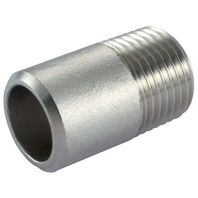 "Stainless Steel Pipe Fittings - 1/4"" BSPT Male Welding Nipple 30mm - 150lb"