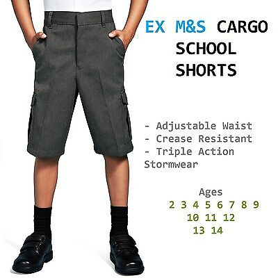 Ex M&S Twin Pack Boys School Cargo Shorts Adjustable Waist Charcoal Age 2-14