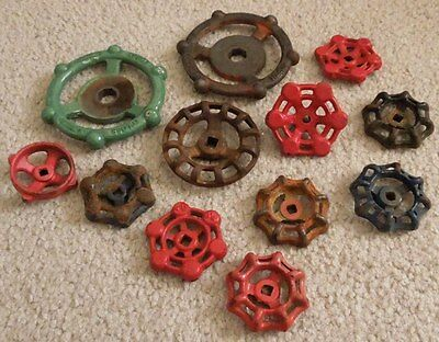 12 Various Sized Industrial Oil Refinery Cast Iron Water Valve Handles