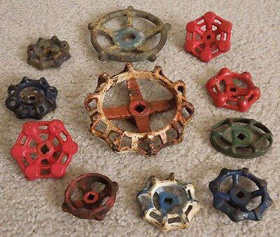 11 Various Sized Industrial Oil Refinery Cast Iron Water Valve Handles