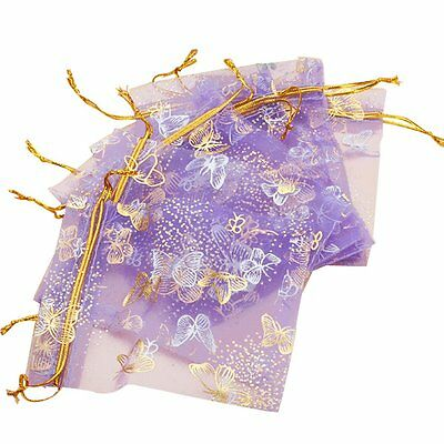 H1 100pcs Butterfly Drawstring Organza Wedding Gift Jewellery Candy Bags
