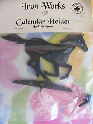 SWEET IRON WORKS CALENDAR HOLDER by K D ROOSTER HORSE RUNNING MADE IN CANADA