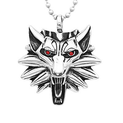 The Witcher Geralt of Rivia Medallion Wolf Pendant Necklace Chain Red Eyes