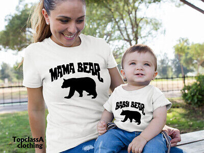 Mama Bear Shirts Mummy Mom Mum Mother Daughter Son Baby Bear Matching T Shirt