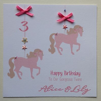 PERSONALISED Handmade BIRTHDAY CARD Grand Daughter TWINS AGE 2 3 4 5 6 7 HORSE