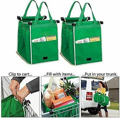 New Clip to Trolley 2-  Easy Pack Shopping Trolley Organiser Section Bags